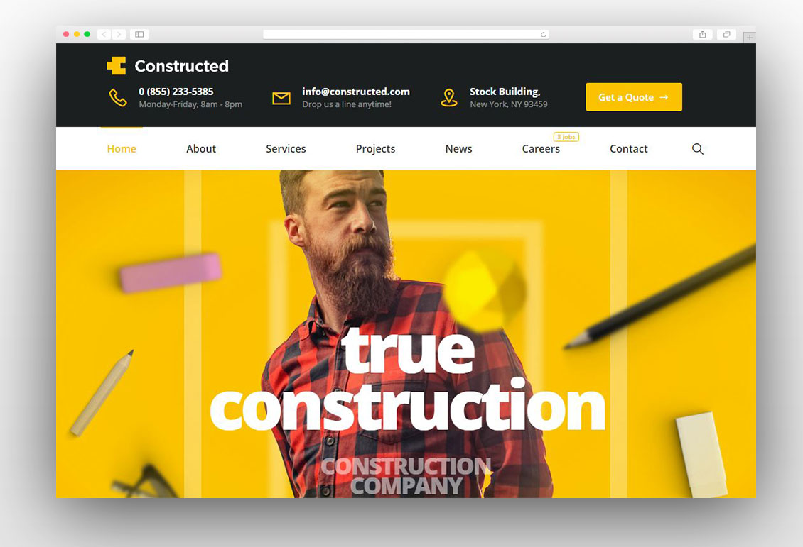 Constructed - Construction WordPress Theme
