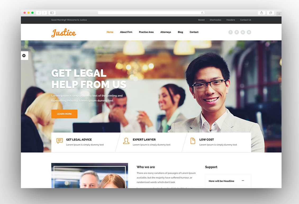 Justice Law & Business WordPress Theme