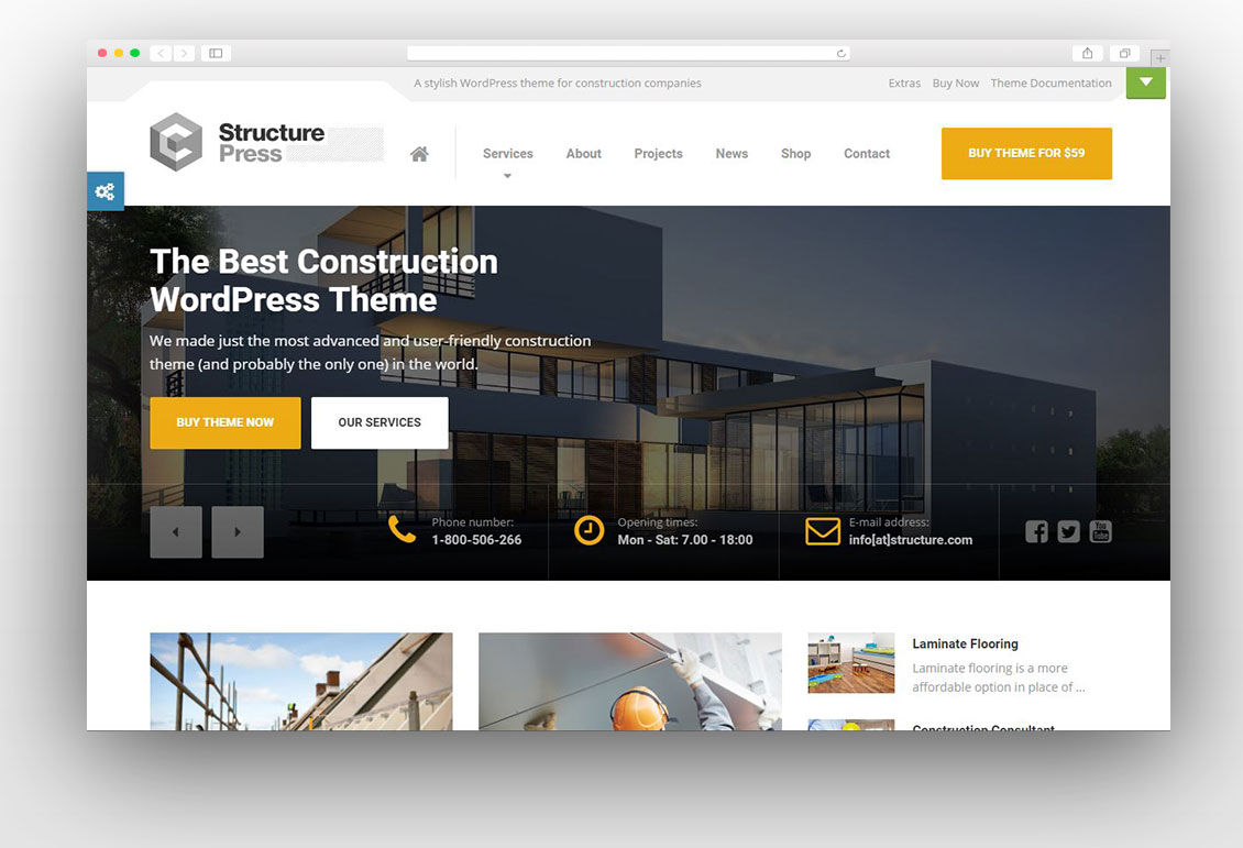 15 best construction wordpress themes 2018 for Architecture wordpress