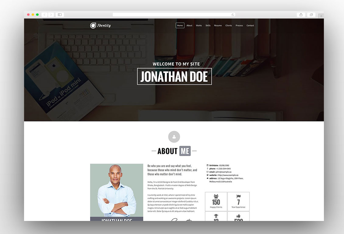 25 best vcard wordpress themes for cv and resume 2017
