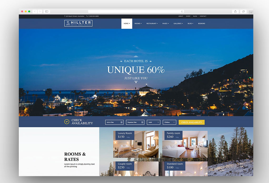 Responsive And Retina Ready Hotel Booking WordPress Theme It Is Perfect For Hotels Resorts Villas B S Or Any Types Of Industry Website