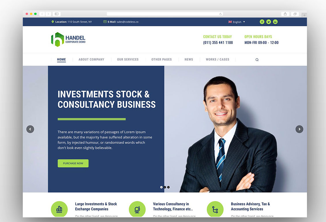 handel one page business wordpress theme