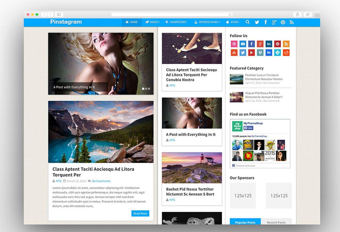 Pinstagram adsense magazine theme