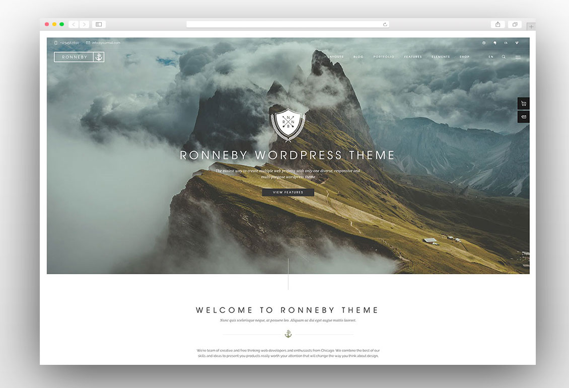Ronneby creative onepage wordpress theme